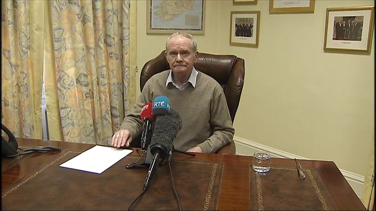Martin McGuinness resigns as Northern Ireland's deputy First Minister amid accusations of DUP arrogance and collusion with the British Government