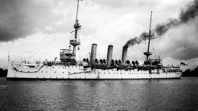 British battlecruiser HMS Hermes, which was sunk by a German u-boat in 1914