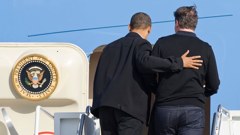 Barack Obama welcomes David Cameron aboard Air Force One at Andrews Air Force Base, Maryland, 2012.