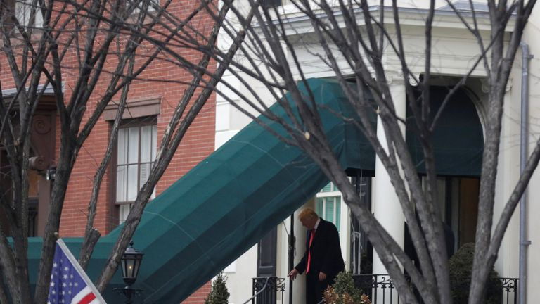 U.S. President-elect Donald Trump and his wife Melania depart Blair House for a church service