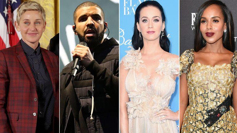 Ellen DeGeneres, Drake, Katy Perry and Kerry Washington