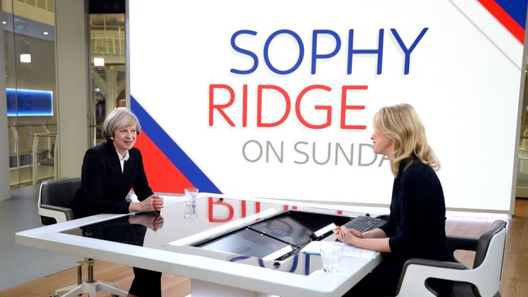Theresa May appears on the first episode of Sophy Ridge on Sunday