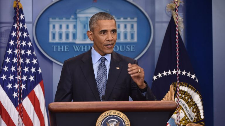 President Obama speaks during his last news conference
