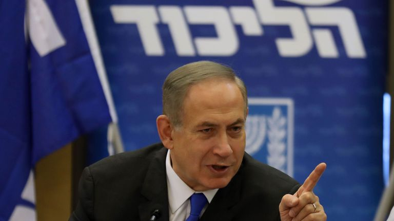 Israeli Prime Minister Benjamin Netanyahu gestures during a Likud faction meeting at the Knesset (Israel's Parliament) in Jerusalem on January 2, 2017. Netanyahu denied any wrongdoing ahead of his expected questioning by police in a graft probe, telling his political opponents to put any 'celebrations' on hold