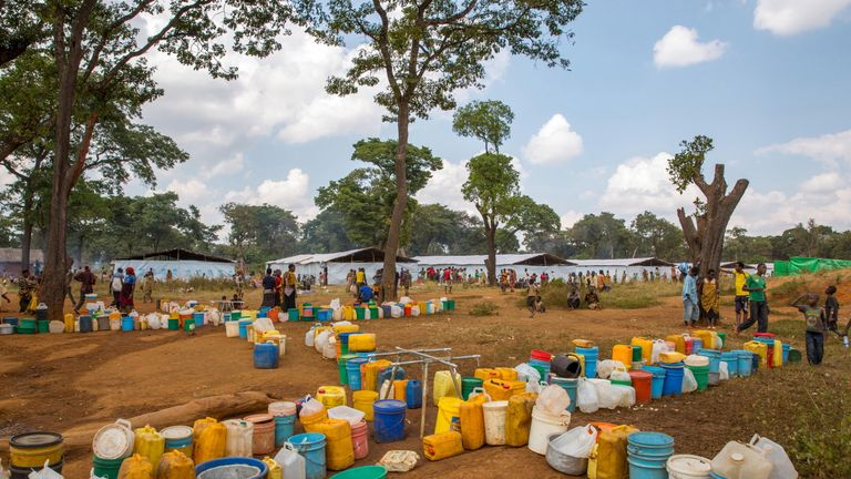 Jerrycans outside a refugee camp in Nyarugusu, Tanzania, in May 2015