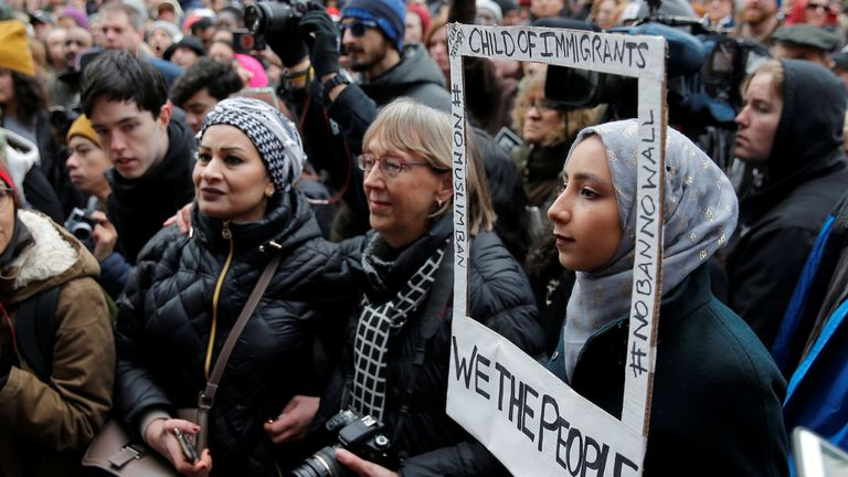 """Sarah Ijaz joins the """"Boston Protest Against Muslim Ban and Anti-Immigration Orders"""" in Massachusetts"""