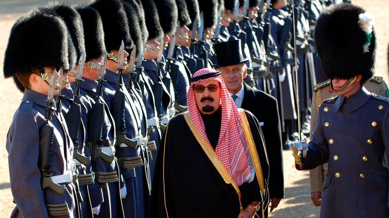 Saudi Arabia's King Abdullah, followed by Prince Philip, reviews a Guard of Honour in Horse Guards, London October 30, 2007