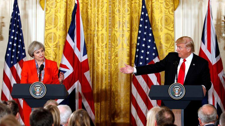 Donald Trump and Theresa May at a joint news conference