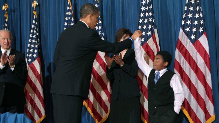 Barack Obama and Marcelas Owens
