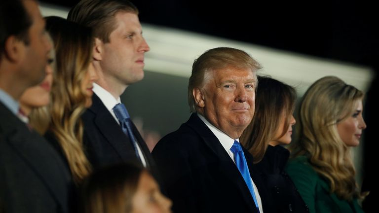 US President-elect Donald Trump and his family take part in a Make  America Great Again welcome concert in Washington, U.S