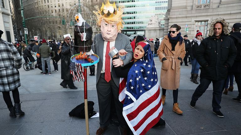 Protesters attending a rally in lower Manhattan