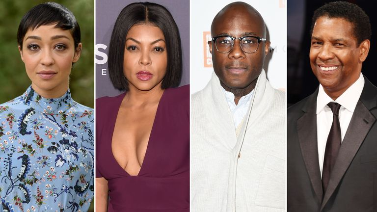 Ruth Negga, Taraji P Henson, Barry Jenkins and Denzel Washington