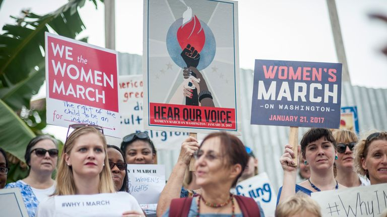 Women in Ghana march against Donald Trump