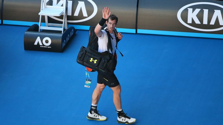 MELBOURNE, AUSTRALIA - JANUARY 22: Andy Murray of Great Britain walks off the court after losing his fourth round match against Mischa Zverev of Germany on day seven of the 2017 Australian Open at Melbourne Park on January 22, 2017 in Melbourne, Australia. (Photo by Michael Dodge/Getty Images)