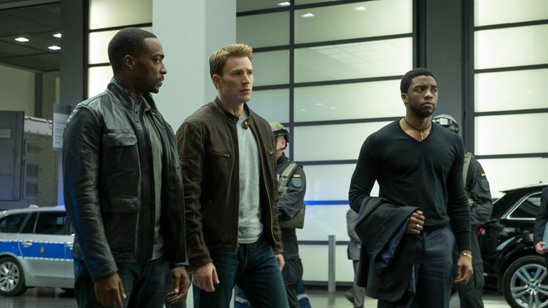 Marvel's Captain America: Civil War..L to R: Falcon/Sam Wilson (Anthony Mackie), Captain America/Steve Rogers (Chris Evans), and T'Challa/Black Panther (Chadwick Boseman)
