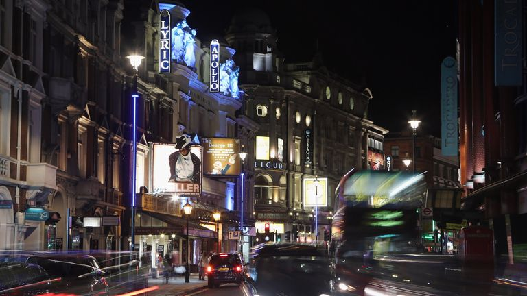 West End theatres on London's Shaftesbury Avenue