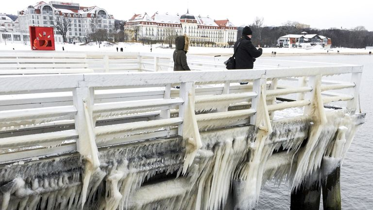 An ice-covered pier in Sopot, Poland