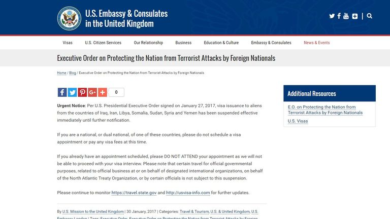 US embassy website warning to Britons with dual nationality