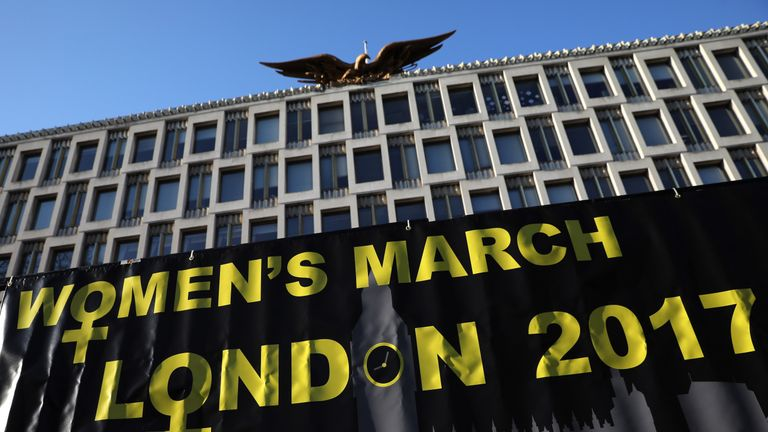 Women's protest sign at the US Embassy in London