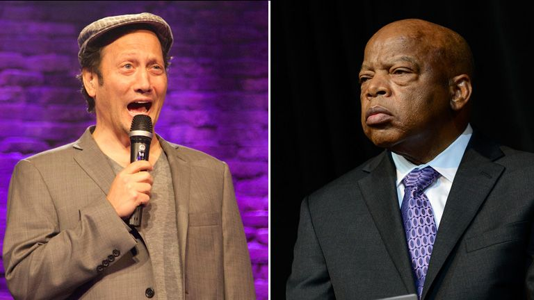 Comedian Rob Schneider and civil rights activist John Lewis