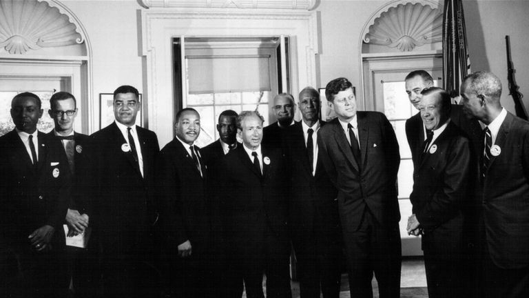 John Lewis (3rd from left) stands next to Martin Luther King as Civil Rights leaders meet President John F Kennedy in the White House, 1963