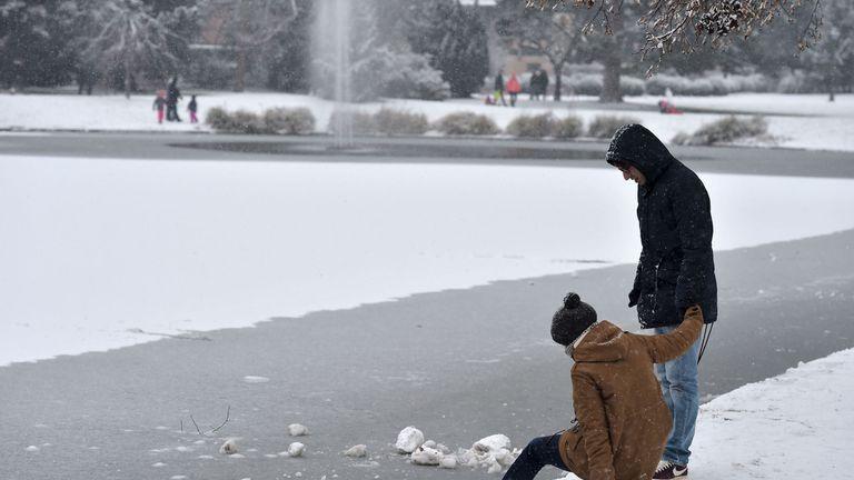 A frozen pond in a park in Strasbourg, eastern France