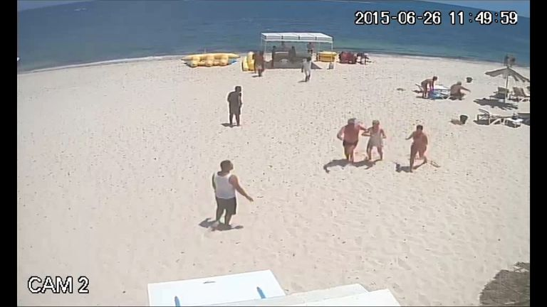 Tourists flee as Sousse gunman attacks people on the beach in Tunisia.