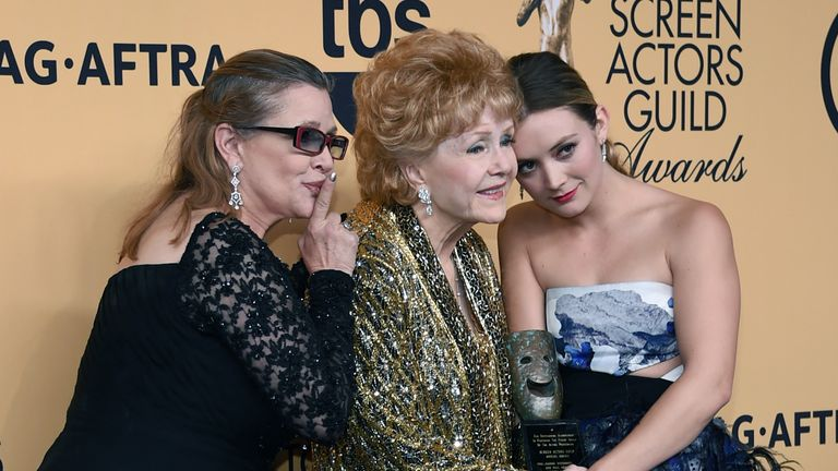 Carrie Fisher, Debbie Reynolds, and Billie Lourd in 2015