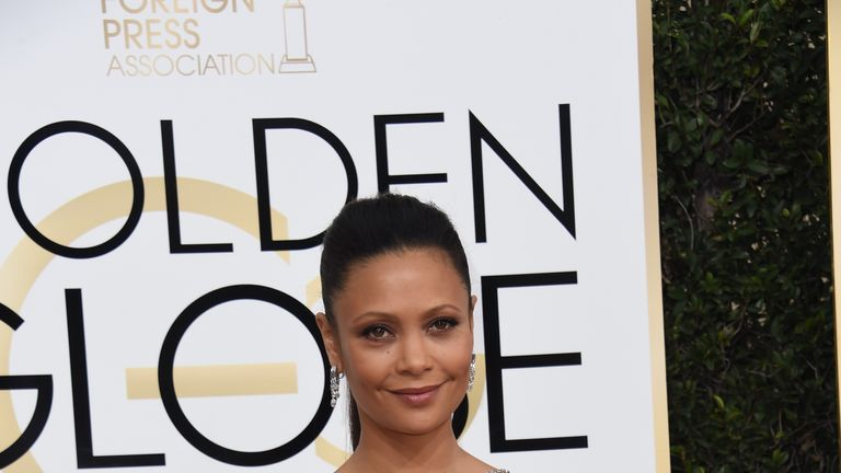 Actress Thandie Newton arrives at the 74th annual Golden Globe Awards, January 8, 2017, at the Beverly Hilton Hotel in Beverly Hills, California