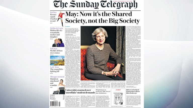 The Sunday Telegraph says Theresa May has written an article for the paper, setting out her vision for 'the shared society'