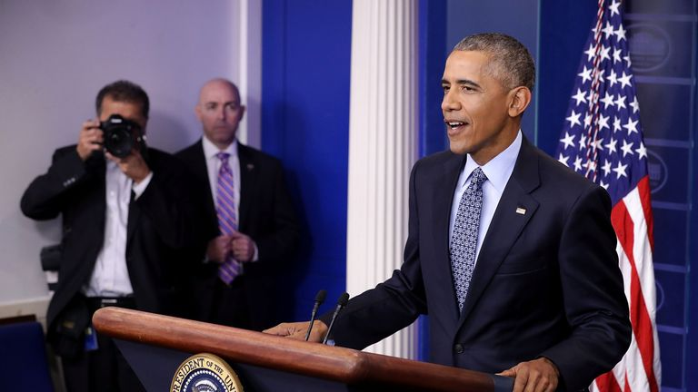 Barack Obama holds the last news conference of his presidency