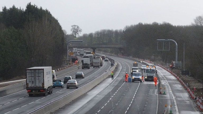 The section of the M1 near Daventry where the body was found