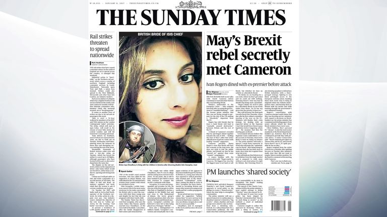 The Sunday Times says Britain's former ambassador to the European Union, Sir Ivan Rogers, held secret talks with David Cameron before Christmas