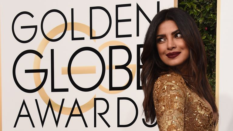 Priyanka Chopra arrives at the 74th annual Golden Globe Awards, January 8, 2017, at the Beverly Hilton Hotel in Beverly Hills, California