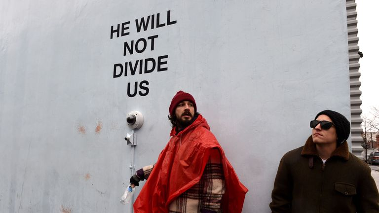 LaBeouf has spent the first few days of Trump's presidency standing in front of a live camera