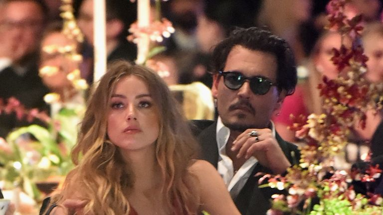 Amber Heard and Johnny Depp in January last year