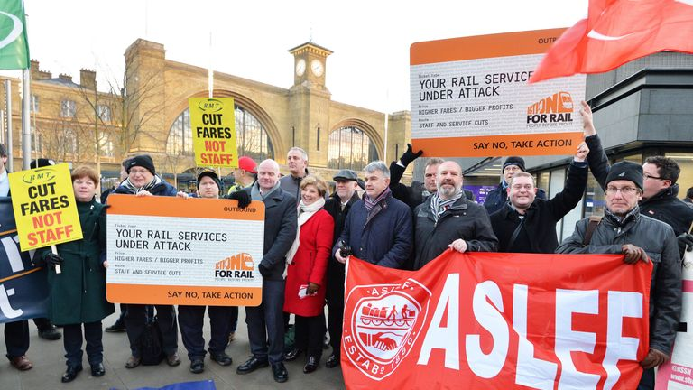 Protesters including two Labour MPs stage a demonstration outside Kings Cross station in London
