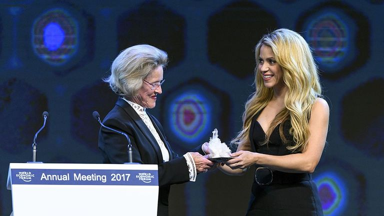 "Singer Shakira gets an award for representing ""the spirit of Davos"""