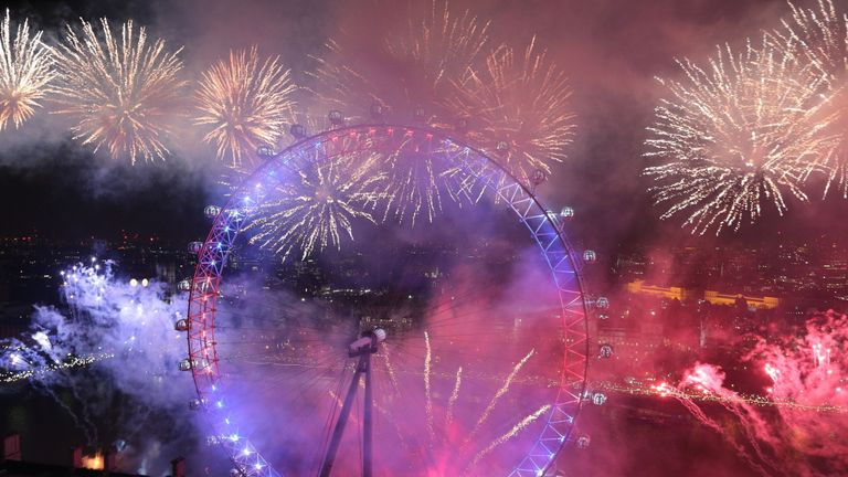 The London Eye erupts in a blaze of excitement