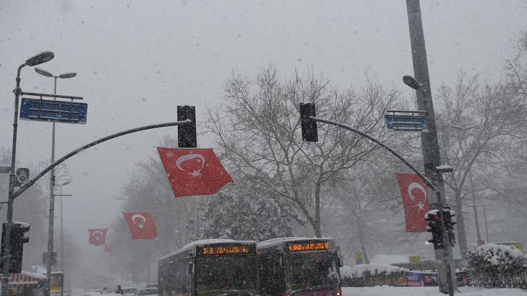 Traffic struggles through the snow in Istanbul