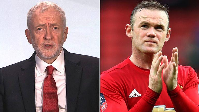Jeremy Corbyn and Wayne Rooney