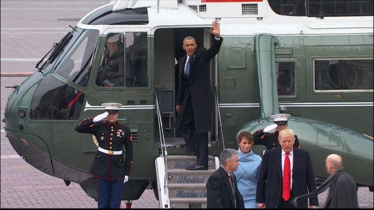 Barack Obama waves goodbye