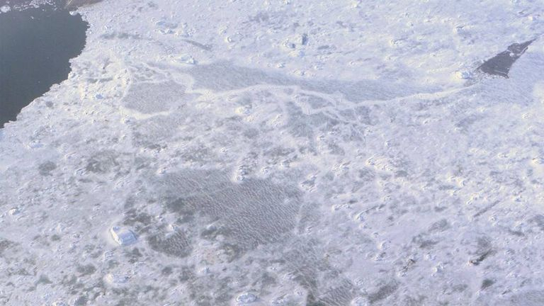 The Larsen Ice Shelf in Antarctica viewed from NASA's DC-8 aircraft