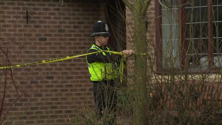 A police officer seals of a property in Woodthorpe near to where the girl was found