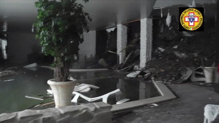 Damage inside the hotel hit by an avalanche