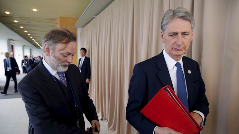 Sir Tim Barrow and Chancellor Philip Hammond in April 2016