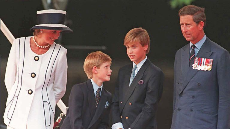 Prince Harry with his brother and parents in London in 1995