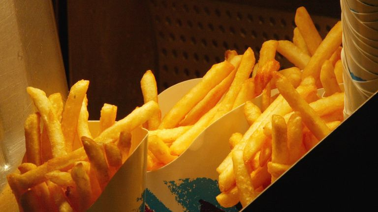 French fries wait to be ordered at a fast-food restaurant September 30, 2002 in Chicago, Illinois