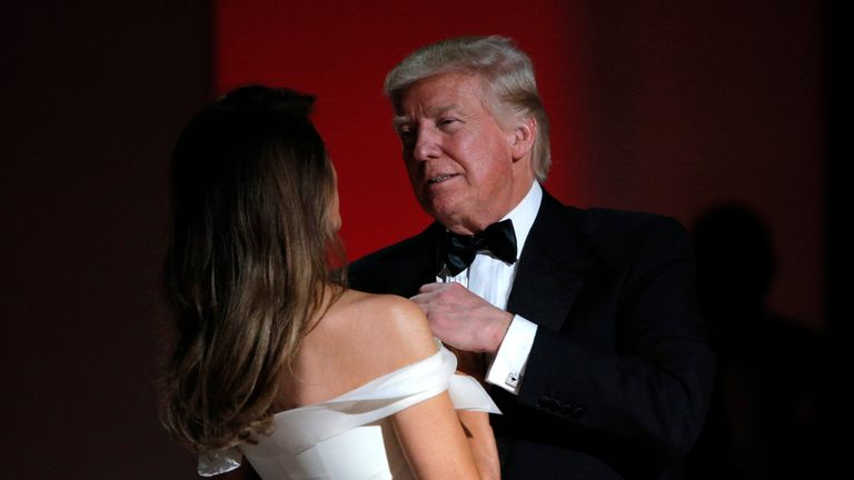 Donald Trump and Melania Trump share their first dance as President and First Lady