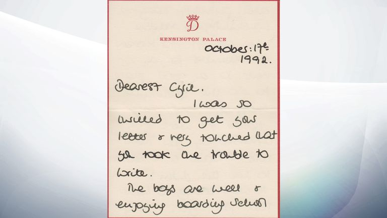 A letter sent by Princess Diana to Cyril Dickman in 1992